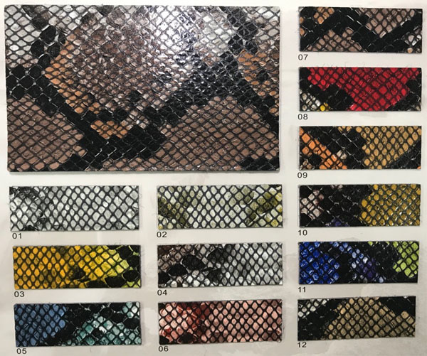 Microfiber leather snake prints for shoes upper supplier in China