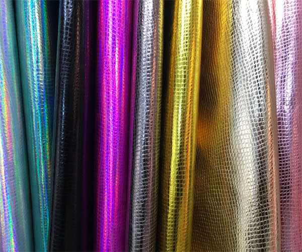 Microfiber snake prints Iridescent smooth surface symphony for bags