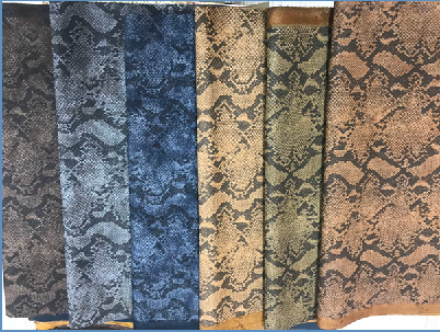 PU snake prints leather in shoes or handbag