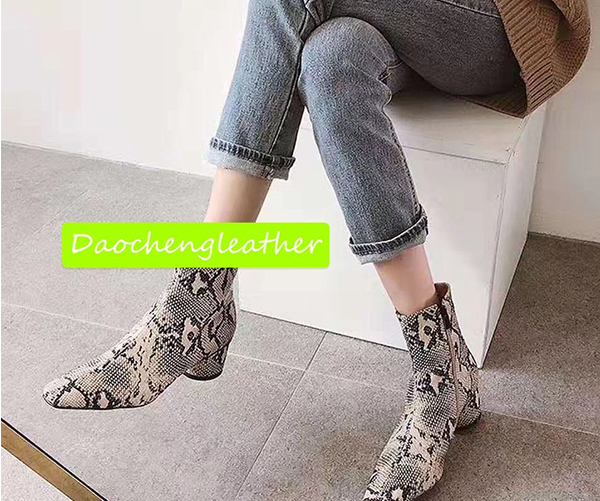 Fashion snake print microfiber leather for man shoes