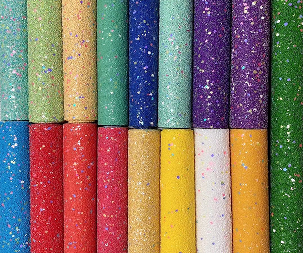 2020 wholesale matte design PU chunky glitter leather for bags and shoes
